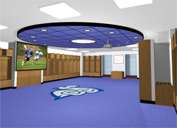 An artistic rendering of the upgraded men's lacrosse and soccer locker room.