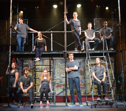 The opening scene of 'I <3 Juliet.' Top row, from left: Noam Waksman '15, Caroline Lazar '15, Leise Trueblood '16, Cody Fisher '13 and Kadeem McCarthy '15. Second row, from left: Leila Teitelman '15, Alex Marz '13, Charlotte Weber '16, Tim Swan '13 and Molly Bienstock '14. Photos by Andrew Nathanson '13.