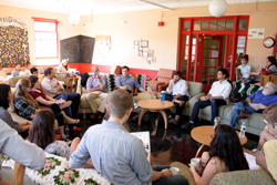 "Students, alumni journalists and professor John Gordon gathered in Coffee Grounds for ""J-Day,"" an annual journalism workshop sponsored by The College Voice. Photos courtesy of Maia Schoenfelder/The College Voice."
