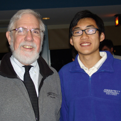 Professor John Anthony, left, and Bisen Li '13, right.