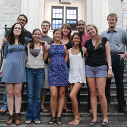 Elise Dunn '12 (front row, center) with the group of students that traveled to New York City for a dinner and discussion with Iranian President Mahmoud Ahmadinejad.