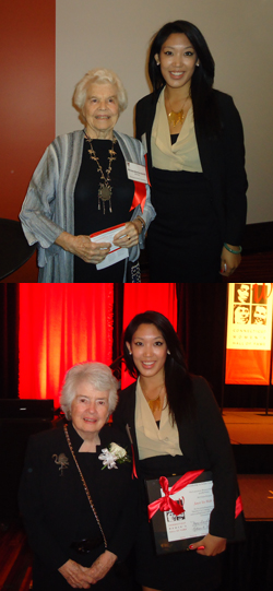 Top: Miriam Butterworth '40 (left) and Janet Tso '12. Bottom: Patricia Wald '48 with Tso.