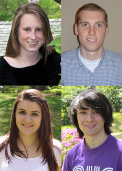 Clockwise, from top left: Phoebe Bakanas '10, Larson Hogstrom '09, Michael Scharf '11 and Matea Ilic '11.