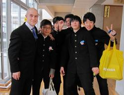 John Andras Molnar '09 with some of his students.