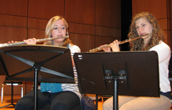Amanda Hurlbutt '13 and Danielle Green '11 practice their music in advance of this weekend's New England Intercollegiate Band Festival.