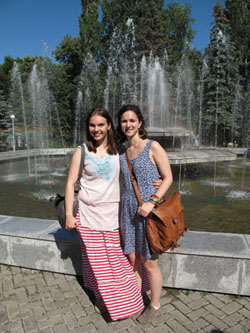 Jyoti Arvey '14, right, and her Russian language tutor enjoy an outing in Ufa, Russia.