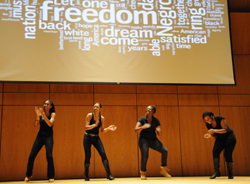 Students perform at the College's annual Dr. Martin Luther King Jr. Commemoration event.