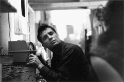 Jack Kerouac listening to himself on the radio, 1959, by John Cohen.
