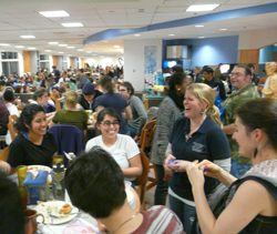 Students pack Harris Refectory for the annual moonlight breakfast study break.