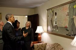 President Obama, Ruby Bridges Hall, and representatives of the Norman Rockwell Museum view Rockwell's painting. (White House photo by Pete Souza)