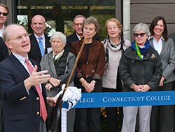 President Leo I. Higdon Jr. speaks at the dedication of the Science Center at New London Hall.