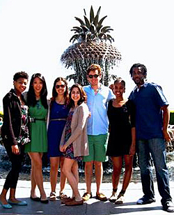 Marline Johnson '13 (far left) poses with classmates in Charleston, S.C.
