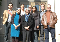 The faculty leading the College's new global Islamic studies initiative pose for a group photo. Back row from left: Professors Muhammad Masud, Sufia Uddin, Karolin Machtans, Afshan Jafar and Denis Ferhatovic, the William Meredith Assistant Professor of English. Front row from left: Professors Waed Athamneh, Sharon Portnoff and Fred Paxton, the Brigida Pacchiani Ardenghi Professor of History. Not pictured are Professors Eileen Kane and Caroleen Sayej. Photo by Janet Hayes.