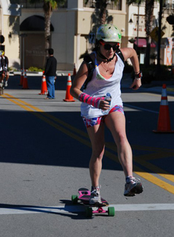 Sara Paulshock '11 competes in the Adrenalina Skateboard Marathon, a 26.2-mile longboard road race in Hallandale Beach, Fla.