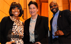 2011 Martin Luther King Jr. Service Award winners, from left: Loretta Vereen '12, Professor Jennifer Manion and Professor David Canton