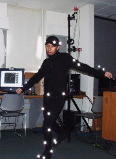 Ajjen Joshi ´12 shows off his motion capture suit.