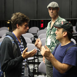 Julian Gordon '14 (left) with actors Marco Greco (far right) and Kevin Geer
