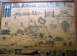 This decorative map from the early 1930s was donated by an alumna in the Class of 1969. She got it from a friend whose mother graduated in 1931.