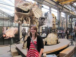 Meghan Ball '12 is pictured at Les Machines d'Ile in Nantes, France.