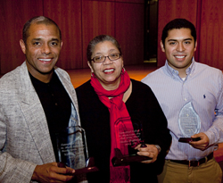 William Wuyke, left; the Rev. Claudia Highbaugh, center; and Jason Cordova ´10, right, were honored with  the college´s annual Dr. Martin Luther King Jr. Service Awards during a celebration of King´s life Jan. 29.