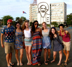 "Students in Professor Michael James' ""Revolutionary Education in Latin America"" course in Cuba over spring break. Photo courtesy of Sophia DeLevie-Orey '15."