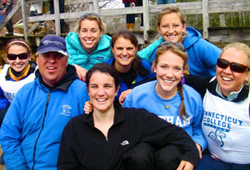 Sailing coach Jeff Bresnahan, second from left, with members of the 2010-2011 Camels sailing team.