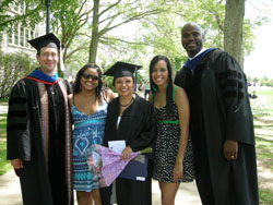 From left: Leo Garofalo, associate professor of history; Xiomara Almanzar '11; Crystal García '12;  Mariela Morel '11; and David Canton, associate professor of history, celebrate Garcia's graduation from Connecticut College in May. Garofalo and Canton are co-directors of the Mellon Mays Undergraduate Fellowship program at Connecticut College.
