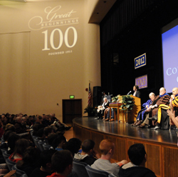 Tiana Davis Hercules '04 speaks at Centennial Convocation.