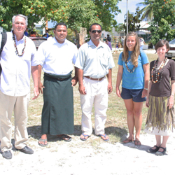 Kristiane Huber '11, second from right, in Tuvalu with her team from Tribal Link.