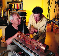 Arlan Mantz, left, the Oakes Ames Professor Emeritus of Physics, has been awarded $99,688 from the National Aeronautics and Space Administration (NASA) to support his research project, 'Spectroscopic parameters of carbon monoxide and methane for Ascends.'