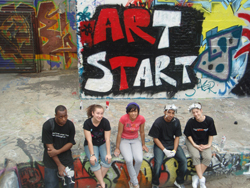 Heather Day (second from left) interning as a teaching artist at Art Start in Brooklyn, N.Y.