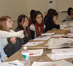 Students discuss opinion writing at an annual journalism event hosted by The College Voice.
