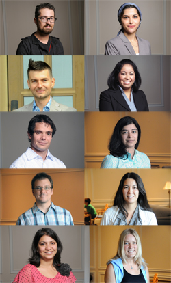 The 2012 new faculty. Top Row [from left]: Nadav Assor and Waed Athamneh. Second Row: Christopher Barnard and Ana Campos-Holland. Third Row: David Chavanne and Sheetal Chhabria. Fourth Row: Denis Ferhatovic and Suzuko Mousel Knott. Fifth Row: Priya Kohli and Karolin Machtans.