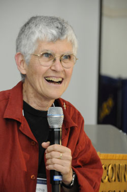 Cynthia Enloe '60 speaks at an event at Connecticut College during Reunion in June.
