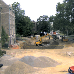 A view of the Science Center construction from the new webcam in Fanning Hall.