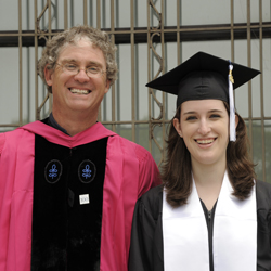 Professor Marc Forster, left, with Erin Wilson '11. Forster advised Wilson on her senior thesis, for which she won the Oakes and Louise Ames Prize at Commencement.