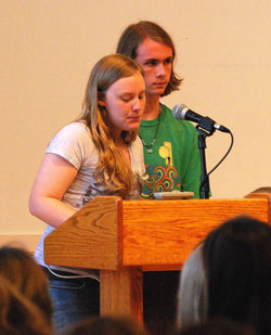 "Brittany Armstrong '13 and Andrew Sowle '13 speak about being a good ally at the recent LGBTQ Teach-In on Homophobia, Bullying and Suicide. In addition to speaking during the ""Community Conversations"" part of the Teach-In, Armstrong and Sowle led the break-out session ""How to be an Ally."""