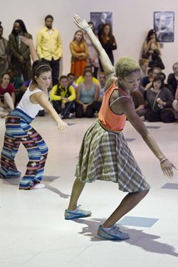 "Students perform Twyla Tharp's ""The One Hundreds,"" a progressive, interactive dance that involves participants learning simple steps and then dancing, first with skilled dancers and gradually with a bigger group."