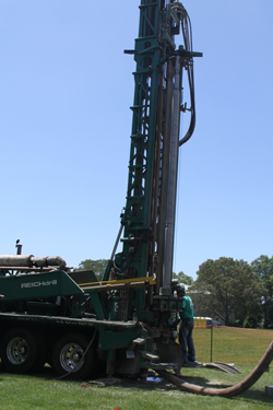 Engineers installed a 500-foot test well in the northeast corner of Tempel Green to confirm that a geothermal system was an option for the new Science Center.