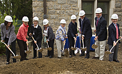 College officials and alumni and parent leaders broke ground for the new Science Center May 21.
