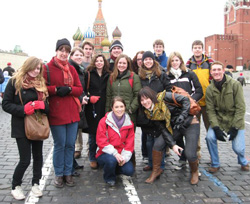 Students studying Russian pose during a trip to Russia in 2008.