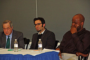 (Left to right) Jay Levin '73, Ahmed Kanna from Trinity College and David Canton, assistant professor of history at Connecticut College, discuss the Obama presidency.
