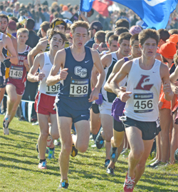 Mike LeDuc '14, center, finished 13th at the 2012 NCAA Division III Cross Country Championship.