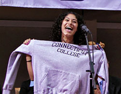 Mayra Valle '14 announces she will attend Connecticut College during YES Prep Public Schools' annual Senior Signing Day last spring.