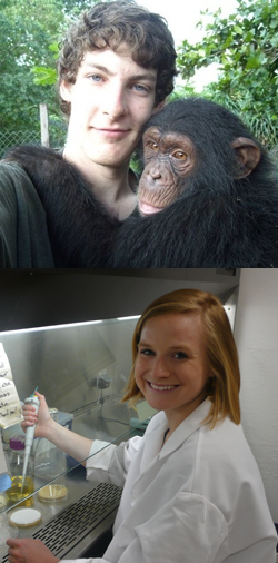 Christopher Krupenye '11 (top, with an orphaned chimpanzee at the Limbe Wildlife Centre in <br>Cameroon) and Kelsey Taylor '11 (bottom, in the Bioorganic Lab in Hale Laboratory) have been <br>named 2010 Goldwater Scholars.