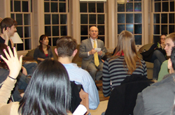 President Leo I. Higdon, Jr. answers career <br>questions from students.