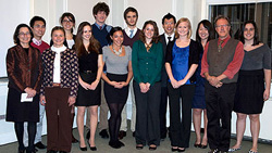 The 2010-2011 Winthrop Scholars pose with Associate Dean of the Faculty Julie Rivkin (far left) and Professor Larry Vogel (second from right).
