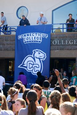 Connecticut College´s new camel mascot was unveiled during a Founders Day Celebration of Athletics.