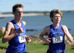 Mike LeDuc '14, left, and Shawn Mulcahy '11 posted strong finishes in the NESCAC men's cross country championship race Oct. 30.