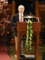 Leo I. Higdon, Jr., President of Connecticut College, at a memorial service for Charles Chu.